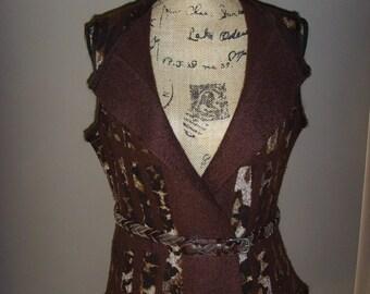 SALE - 50% Nuno Felted Vest Waistcoat -Merino Wool & Silk Vest - Shades of Brown -Elegant Felt -Elegant Clothing -UK size 10/12 -US size 6/8