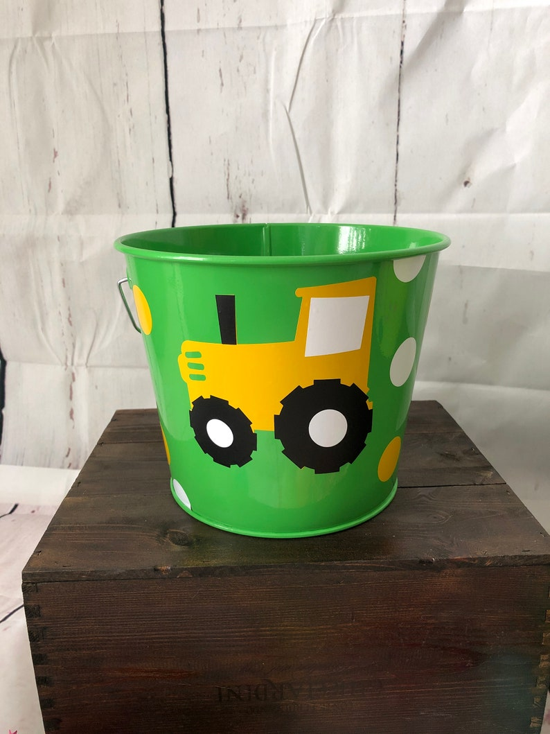 Green and Yellow Tractor Easter Bucket