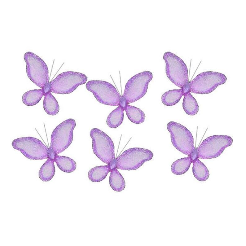 Purple Mini Butterflies 2 Mini Set Of 6 Craft Etsy
