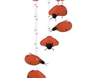 RED LADYBUG MOBILE - baby nursery mobile hanging ceiling kids girl room bedroom ladybug decor decoration whimsical Clearance Sale