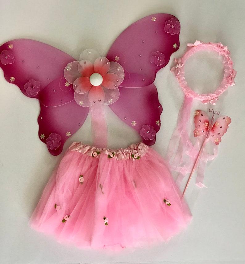 c6cafdda7 FAIRY PRINCESS COSTUME halloween tutu wings wreath wand pink | Etsy