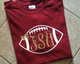 Custom  Personalized Florida State University Gold Glitter Monogram Football  Shirt With Bow-Seminoles-FSU-Fear The Spear-Chop-Go Noles 2417b876a0