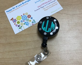 Custom/Personalized Vinyl Monogram Badge Reel With Pull-Nurse-Doctor-Medical-Medical School-Southern-ID Holder Clip