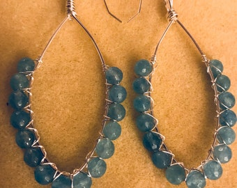 Angelite Earrings - wire wrapped