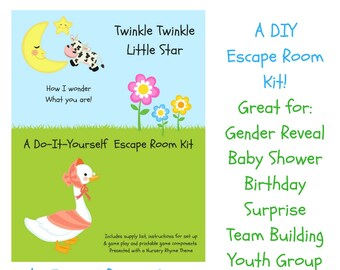 Escape room etsy twinkle twinkle nursery rhyme diy escape room kit gender reveal birthday surprise family friendly youth group baby shower party game solutioingenieria Images