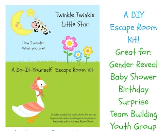 Escape room etsy twinkle twinkle nursery rhyme diy escape room kit gender reveal birthday surprise family friendly youth group baby shower party game solutioingenieria Choice Image