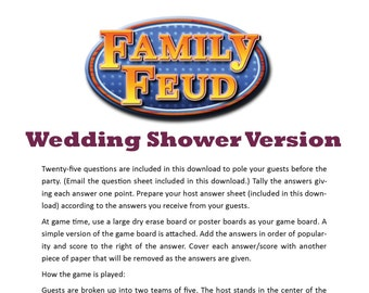 Wedding Shower Family Feud - Printable Game -  Bachelorette Game -  Clean & Family Friendly Game - Couples Shower - Rehearsal Dinner Game