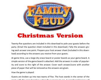 Christmas Family Feud - Printable Game -  Christmas Family Game -  Party Game  -  Family Friendly Game