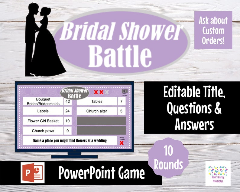Virtual Game  Wedding Bridal Shower Battle Editable image 0