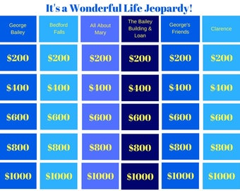 its a wonderful life jeopardy printable game - Christmas Jeopardy Game