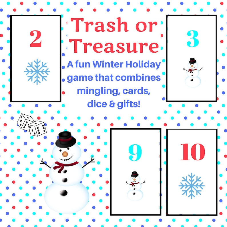 photograph about Printable Dice Games referred to as Wintertime Family vacation Trash or Treasure Printable Cube Card Recreation for Significant Community, Wintertime, Clroom, GNO, Hanukkah Activity, Mingle Sport, Desk Video game