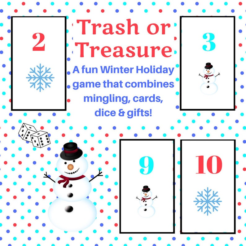 photo about Printable Dice Games referred to as Winter season Vacation Trash or Treasure Printable Cube Card Match for Hefty Community, Wintertime, Clroom, GNO, Hanukkah Activity, Mingle Match, Desk Video game
