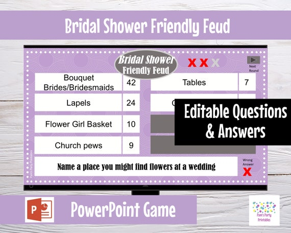 picture about Bachelorette Bracket Printable identified as Wedding day Bridal Shower Welcoming Feud Editable PowerPoint Match