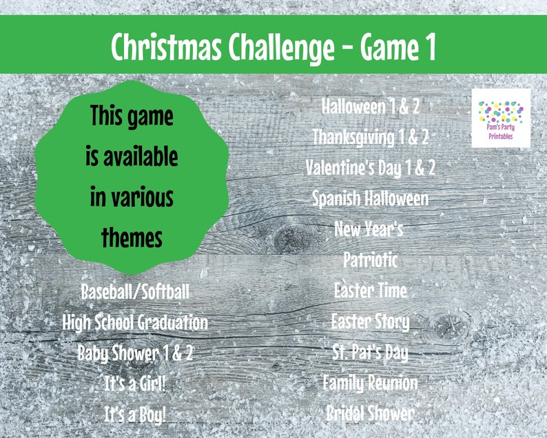 Family Friendly Christmas Game Classroom Virtual Game Christmas Challenge GAME 1- Interactive /& Editable PowerPoint Game Party Game