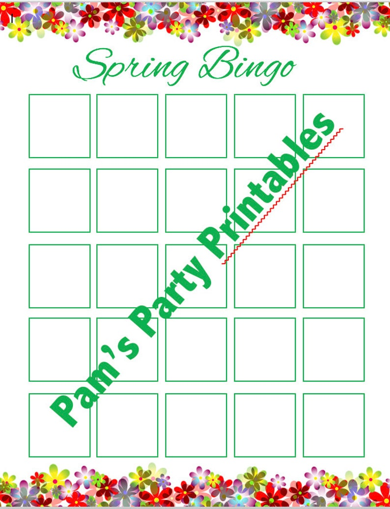 picture about Spring Bingo Game Printable identified as Blank Spring Bingo Printable for Do it yourself Sticker Bingo Match - Spring Occasion, Clroom Get together, Birthday Get together, Youth Community, Female Scouts, Preschool