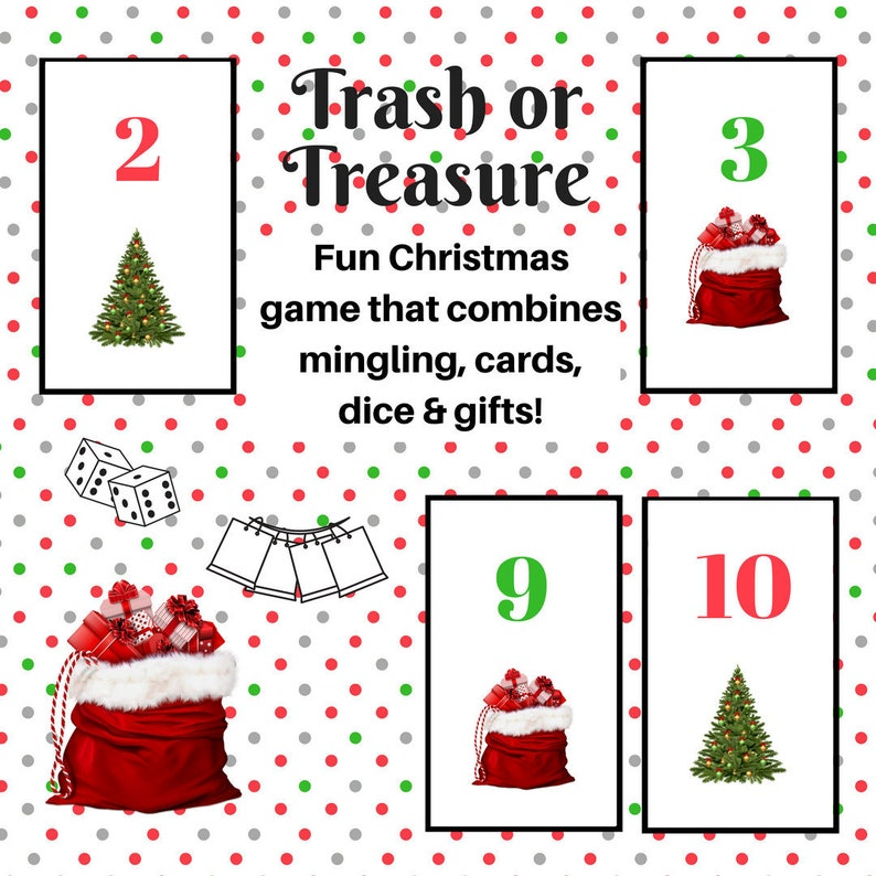 graphic regarding Christmas Dice Game Printable titled Xmas Trash or Treasure Printable Cube Card Recreation for Heavy Neighborhood, Youth Local community, Clroom, GNO, Xmas Sport, Mingle Activity, Desk Video game
