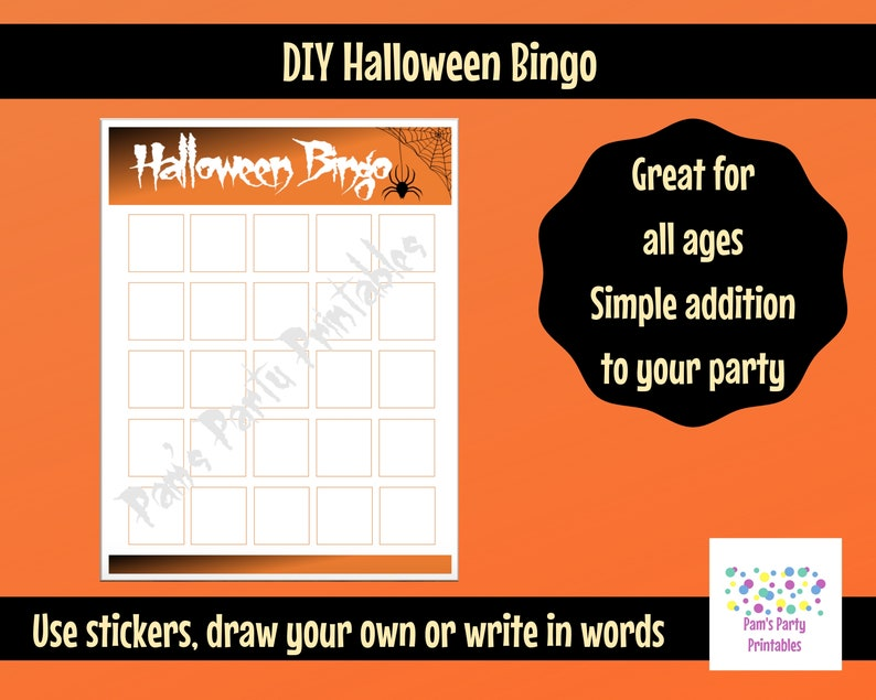 photograph regarding Halloween Bingo Printable identify Blank Halloween Bingo Printable for Do it yourself Sticker Bingo Sport Halloween Bash, Clroom Occasion Match, Youth Neighborhood, Woman Scouts, Preschool