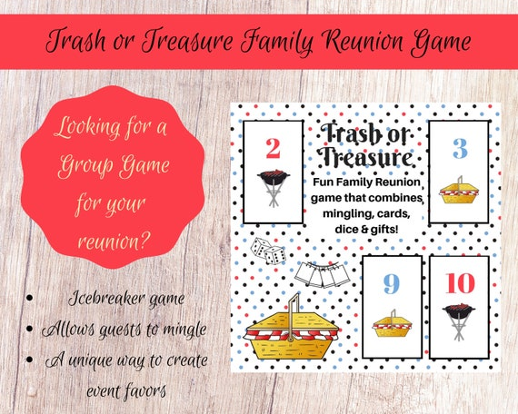 image relating to Printable Dice Games called Household Reunion Trash or Treasure Printable Cube Card Recreation for Superior Community, Youth Local community, Clroom, GNO, Mingle Sport, Desk Sport
