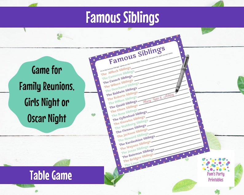 Famous Siblings  Family Reunion Game  Table Game  Printable image 0