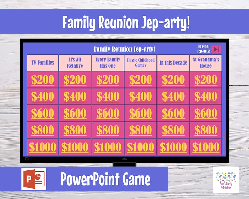 Virtual Game Family Reunion Jep-arty  Interactive PowerPoint image 0
