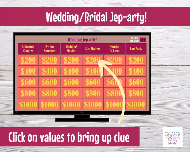 Family Friendly Interactive PowerPoint Game WeddingBridal ShowerRehearsal Dinner Interactive Virtual Game Wedding Time Jep-arty!