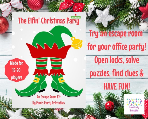 The Elfin Christmas Party A Diy Escape Room Kit Christmas Game Friendsgiving Family Team Building Office Party Game Up To 20 Players By Pam S Party Printables Catch My Party