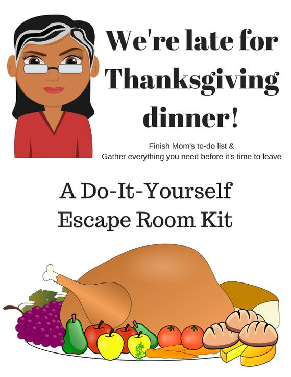 Were late for thanksgiving a diy escape room kit etsy image 0 solutioingenieria Choice Image