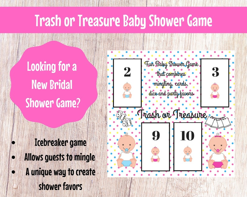 Baby Shower Trash or Treasure Printable Dice & Card Game for image 0