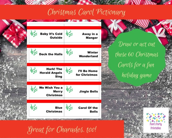 picture relating to Christmas Carol Game Printable named Printable Xmas Carol Recreation Playing cards for Pictionary or