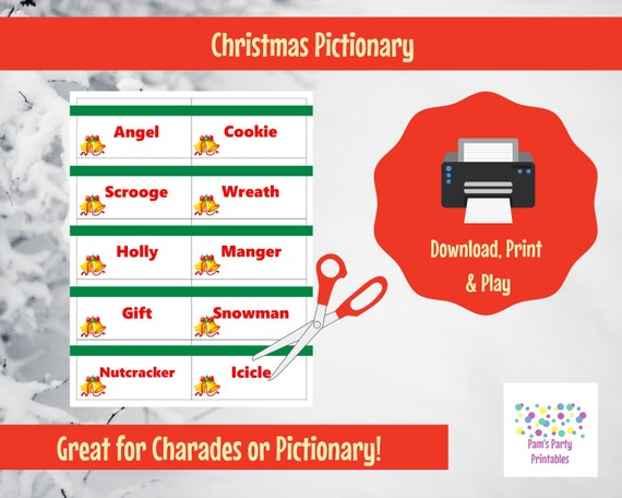 Printable Christmas Game Cards for Pictionary or Charades, Hangman or 20  Questions INSTANT DOWNLOAD