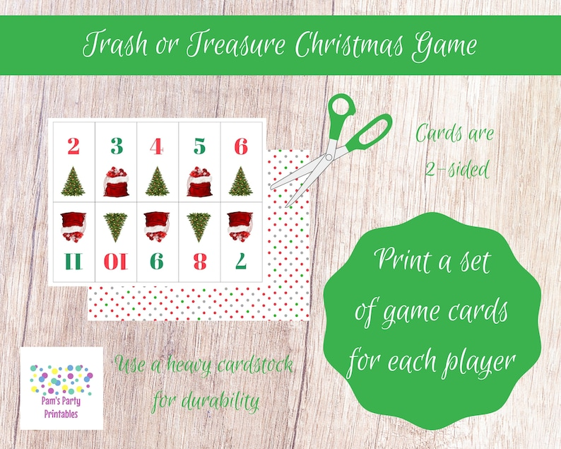 photograph relating to Christmas Dice Game Printable called Xmas Trash or Treasure Printable Cube Card Recreation for Substantial Community, Youth Neighborhood, Clroom, GNO, Xmas Video game, Mingle Activity, Desk Match