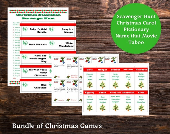 image relating to Christmas Carol Games Printable called Xmas Printable Online games Deal -Great deal of 4 Video games - Taboo