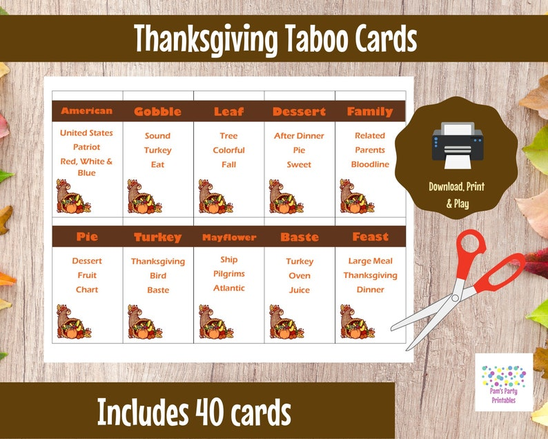 photo regarding Printable Thanksgiving Games called Printable Thanksgiving Match - Taboo Playing cards Instantaneous Down load