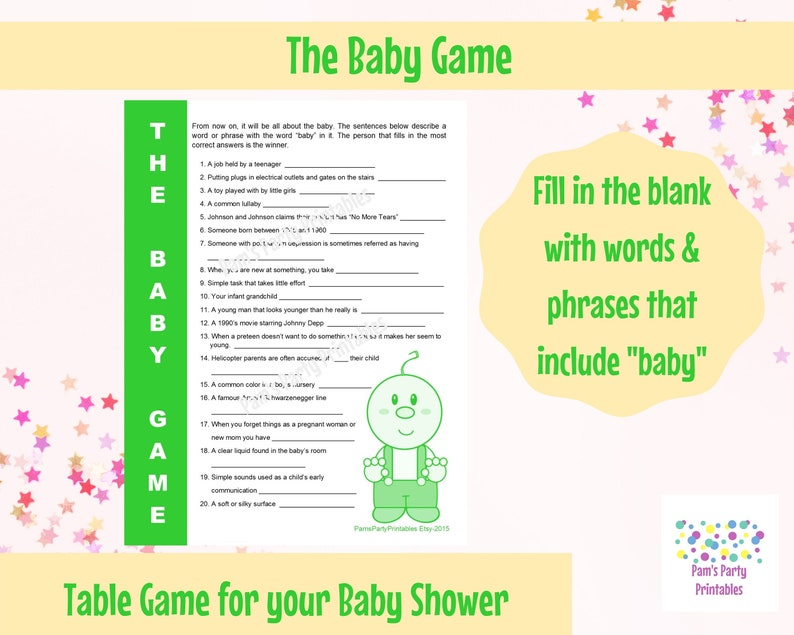 The Baby Game  Printable Baby Shower Game  Baby Shower Game image 0