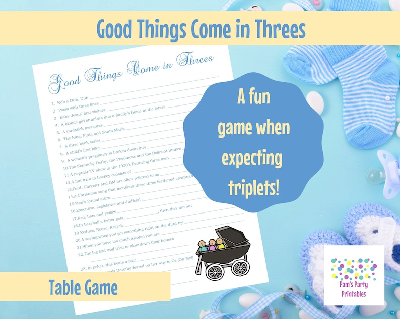 Baby Shower Game  Baby Shower Printable Game for Triplets  image 0