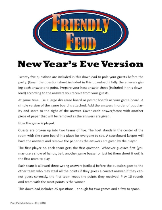 New Years Themed Friendly Feud Printable Game New Etsy