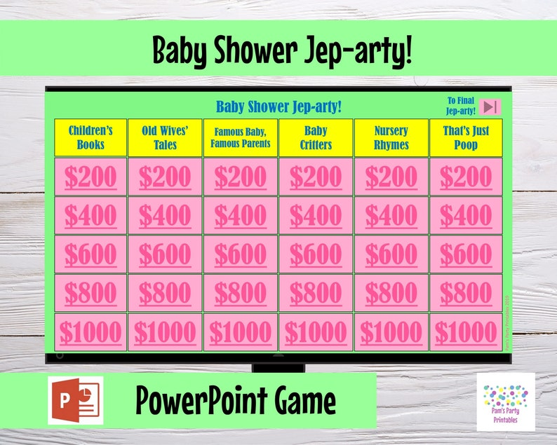 Virtual Game Baby Shower Jep-arty  Interactive PowerPoint image 0