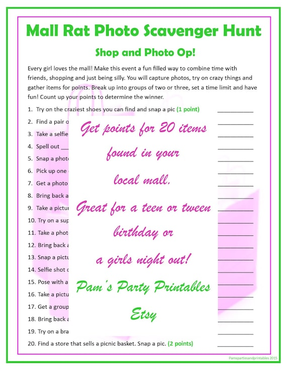 photo relating to Family Reunion Scavenger Hunt Printable referred to as Shopping mall Rat Scavenger Hunt - Printable Quick Obtain by means of