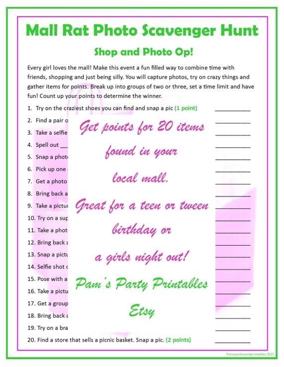 image about Family Reunion Scavenger Hunt Printable named Shopping mall Rat Scavenger Hunt - Printable Quick Obtain by means of