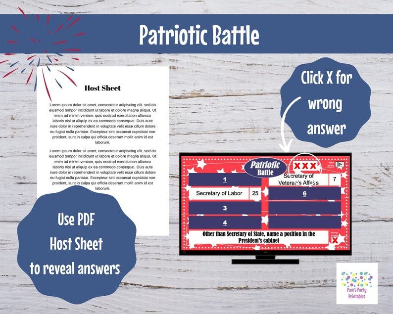 Family Friendly Virtual Game Patriotic 4th of July Battle Game Memorial Day GAME TWO- Interactive PowerPoint Game