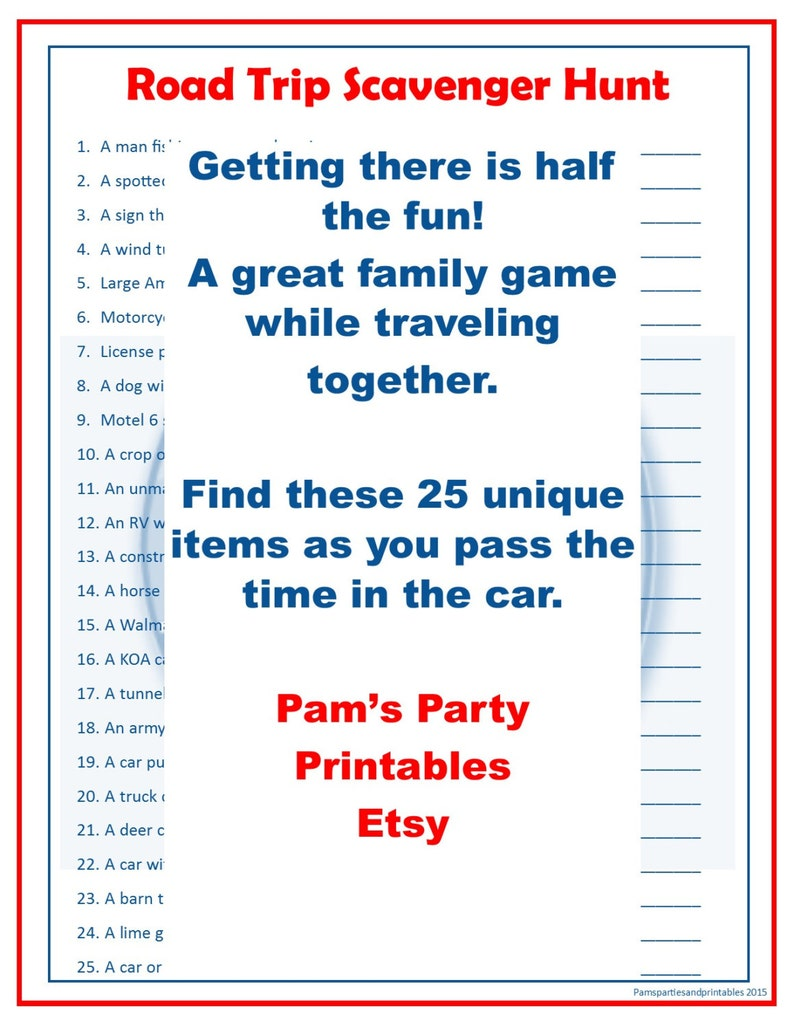 picture regarding Road Trip Scavenger Hunt Printable named Street Family vacation Scavenger Hunt - Loved ones Pleasant Match - P Period within just the Auto - Printable Fast Obtain