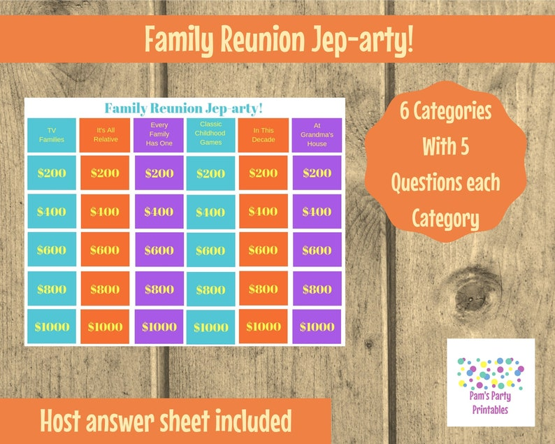 Family Reunion Jep-arty  Printable Game Family Game Party image 0