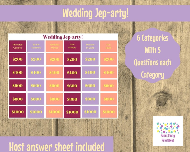 Wedding Jep-arty  Printable Game Family Friendly Party image 0