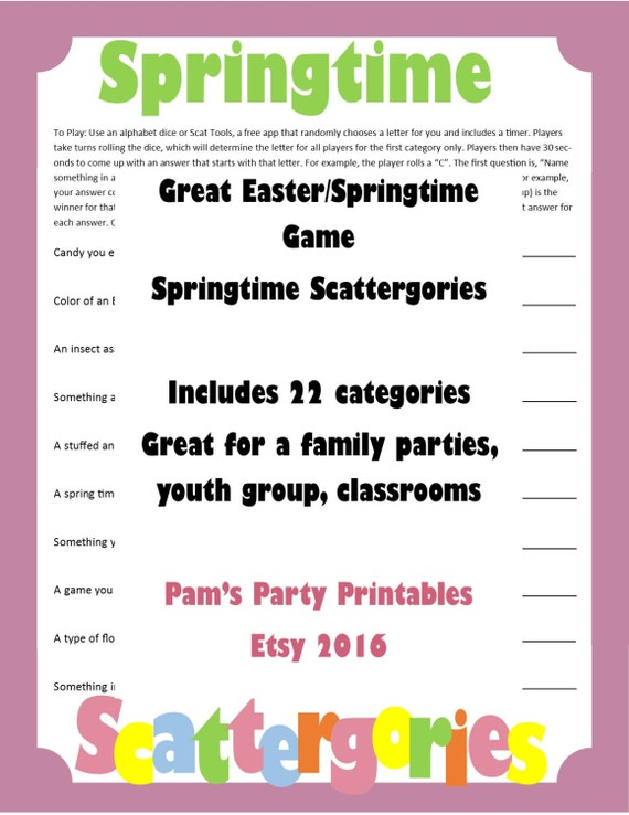 picture relating to Scattergories Printable identified as Easter Springtime Scattergories- Printable Video game - Loved ones