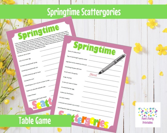 Easter Springtime Scattergories Printable Game Family Party Classroom Party Youth Group Instant Download By Pam S Party Printables Catch My Party