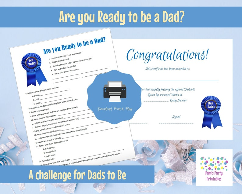 Are You Ready to Be a Dad  Printable Baby Shower Game  Baby image 0