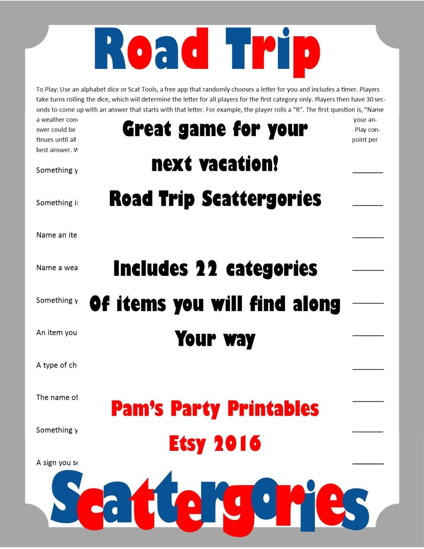 Road Trip Scattergories-Printable Spiel Road Trip Spiel | Etsy