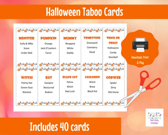 graphic relating to Taboo Game Cards Printable called Printable Halloween Taboo Video game Playing cards Quick Down load for