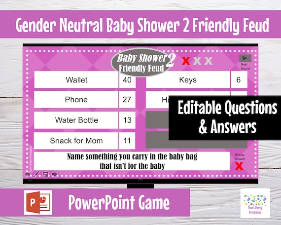 Gender Neutral Baby Shower Family Feud 2 - Editable PowerPoint Game