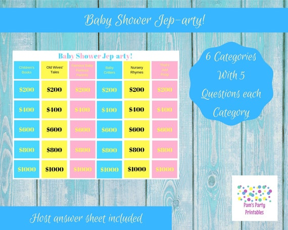 photograph about Baby Jeopardy Questions and Answers Printable referred to as Child Shower Jep-arty! - Printable Video game, Gender Explain, Celebration